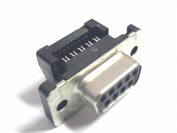 Sub D connector female 9 polig flatcable