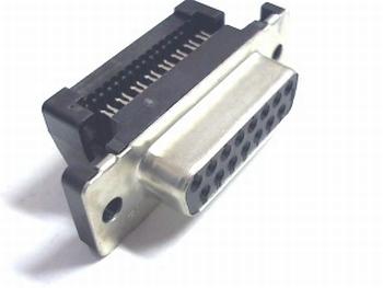 Sub D connector 15 polig female flatcable