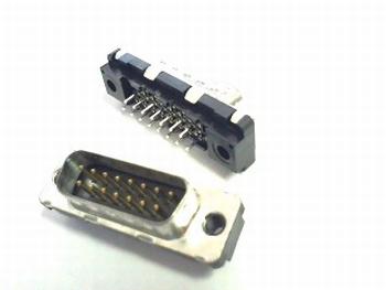 Sub D connector 15 polig male printmontage
