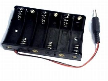 Batterijhouder 6 x AA met voedingsplug
