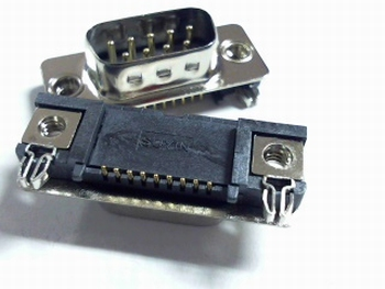 Sub D connector male 9 polig SMD montage