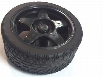 Wiel 65mm diameter zwart voor ovaalvormige as 4mm x 5,5mm