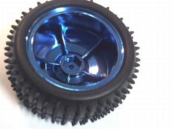 Wiel 85mm diameter metalic blauw voor 4,5mm as
