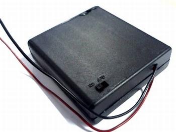 Batterijhouder 4 x AA gesloten met draadaansluitng