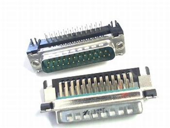 Sub D connector 25 polig male haaks voor printmontage