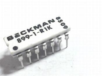 Weerstand array 7 x 1K ohm DIP14