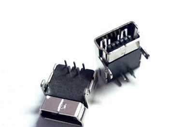 USB mini-B voor printmontage through-hole