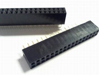 Female Header 2,54 mm recht, 2 x 17