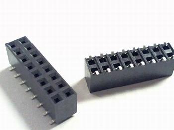 Female Header 2,54 mm recht, 2 x 8 - SMD montage