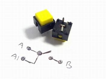 Drukschakelaar momentcontact Geel vierkant Radiohm ST1034E