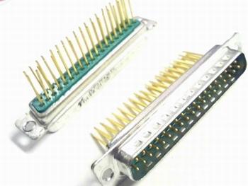Sub D connector 37 polig male verguld printmontage hoog
