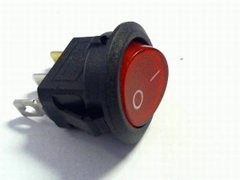 Schakelaar rond 2 polig aan/uit met verlichting rood SPST