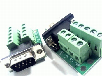Sub D connector male 9 polig op PCB met schroefconnectors