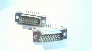 Sub D connector 15 polig male printmontage haaks
