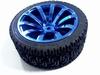 Wiel 65mm diameter metalic blauw voor 4 mm ronde as