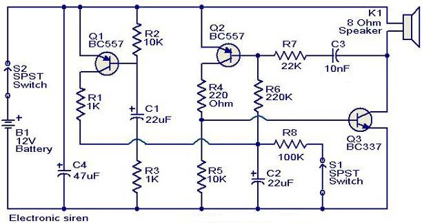 Electronic circuit for siren